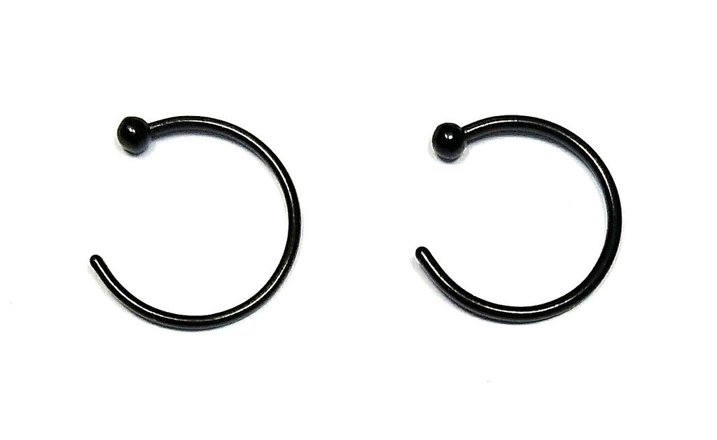 18G 2-6pcs Surgical Steel Small Ball Nose Rings Hoop Nose Piercing Body Jewelry 8mm