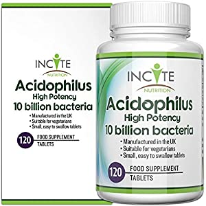 Acidophilus 10 Billion cfu Bacterial Cultures Food Supplement – 120 Easy Swallow 6mm Tablets – High Potency L. acidophilus, Lactobacillus acidophilus 10 Billion cfu per Tablet by Incite Nutrition