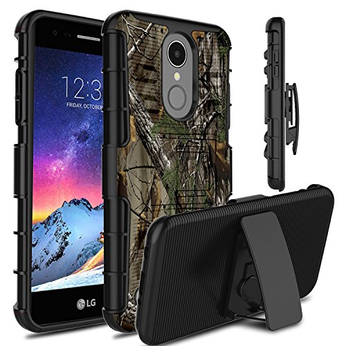 LG Aristo 2 Case, LG Tribute Dynasty Case, LG LV3 2018 Case, Venoro Heavy Duty Shockproof Armor Holster Defender Full Body Rugged Protective Case Cover with Kickstand for LG X210 (Camouflage)