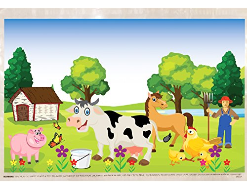 Extra Sticky Disposable Plastic Placemat for Baby and Toddlers - 60 Count - New Farm Animals Design for 2018 - BPA Free - Use for Easy Cleanup of Tabletops - Keep Area Germ Free - Adhesive on 4 Sides