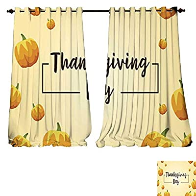 DESPKON-HOME Blackout Curtains Style Background with Pumpkin Thanksgiving Card Vector Art Darkening Bedroom and Living Room Curtains