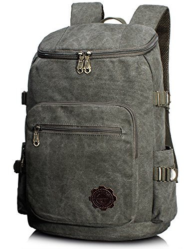 Leaper Retro Canvas Laptop Backpack School Daypack Hiking Knapsack Rucksack Army Green