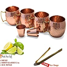 Set of 4, Moscow Mule Mug - 100% Pure Solid Copper, 16 Oz Unlined, No Nickel Interior, Handcrafted Hammered Design with Free 2 Copper Vodka Shot Glasses PRISHA INDIA CRAFT
