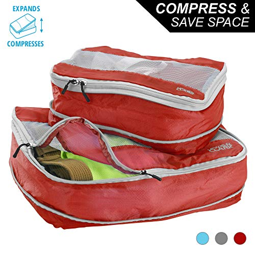 Lewis N Clark Electrolight Expandable Compression Packing Cube + Travel Organizer for Luggage, Suitcase or Carry On with Smart Design Grab Handle & Breathable Mesh, 2 Pack (1 Med, 1 ()
