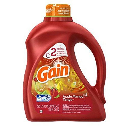 Gain Liquid Laundry Detergent, Apple Mango Tango Scent, 48 loads, 100 oz - Pack of 1