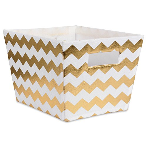DII Metallic Fabric Trapezoid Storage Container for Nurseries, Offices, Closets, Home Décor, Cube Organizer & Everyday Use, (Basket - 12x10x7.75