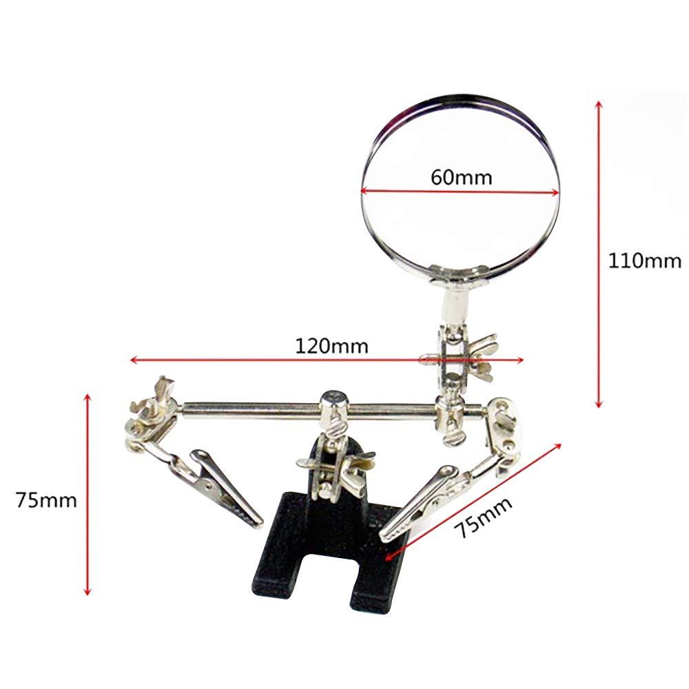 Lupa de joyer/ía ajustable 5X Lupa de tercera mano Acero para ensamblaje electr/ónico de soldadura de joyer/ía