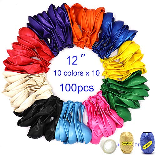 Premium 100 Balloons, Latex Party Helium Colored Balloons w/Ribbon and Glue Points, 10 Assorted Colors 12 Inch Rainbow Colorful Balloons Bulk Pack for Birthday Parties Supplies and Arch Decoration