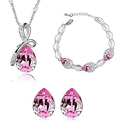 HSG Cute Girl Rose Red Crystal Jewelry Sets Pink Water Drop necklace earrings & bracelet JM2347