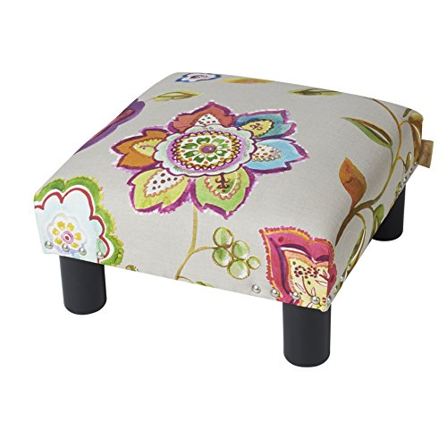 Jennifer Taylor Home Jules Collection Contemporary Nailhead Trim Accent Ottoman Bench, Multicolor/Floral Print ()