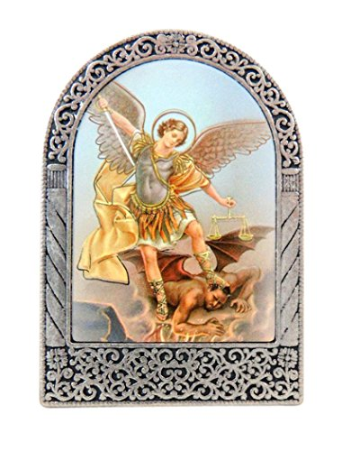 Religious Gifts Saint Michael The Archangel Icon in Silver Tone Metal Arch Standing Plaque, 2 1/2 Inch