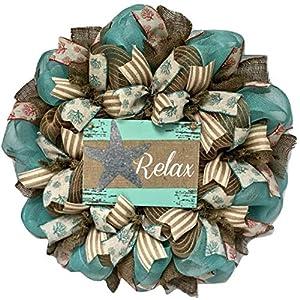 Relax Beach Wreath With Tin Starfish Handmade Deco Mesh 26