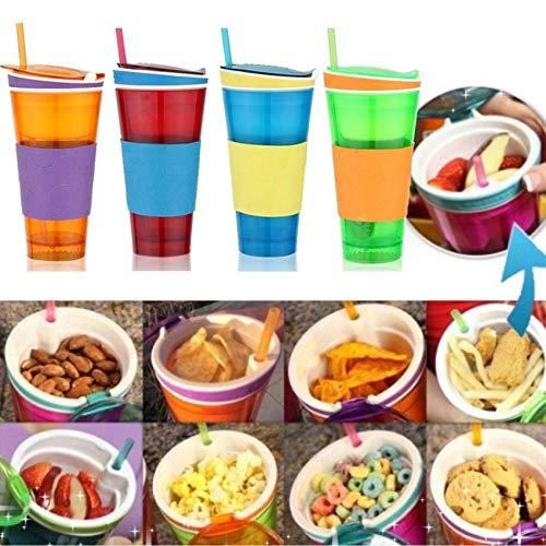 RoadRomao Taza Snackeez Snackeez 2-en-1 Taza de Viaje para Bebidas Contenedor para ni/ños Copas de Viaje