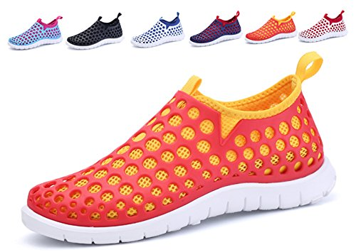Men and Women Breathable Quick Drying Sport Beach Mesh Slip On Water Shoes Lijeer (Men US10.5=CN45, Orange yellow)