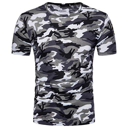BSGSH Men's Classic Comfort Soft Slim Fit Short Sleeve Crew Neck Camouflage T-Shirt Tee (M, Gray) Pullover Men T Shirt