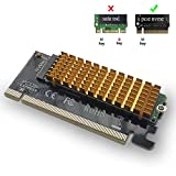 OINVMEIO M.2 to PCIe Adapter Card,NVMe or PCIE AHCI SSD to PCI Express X16 Adapter with Heat Sink + Silicone Pad, SSD to PCI-E 3.0 x4 Adapter for PC Desktop, Support M.2 Key M SSD 2230-2280 Size