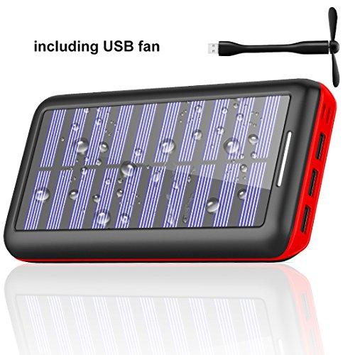 Portable charger Power bank Solar Charger-24000mAh External Battery Pack High Capacity with USB Fan and 3 USB Port for iPhone, iPad, Samsung, HTC, and other Tablet-(red) by BERNET
