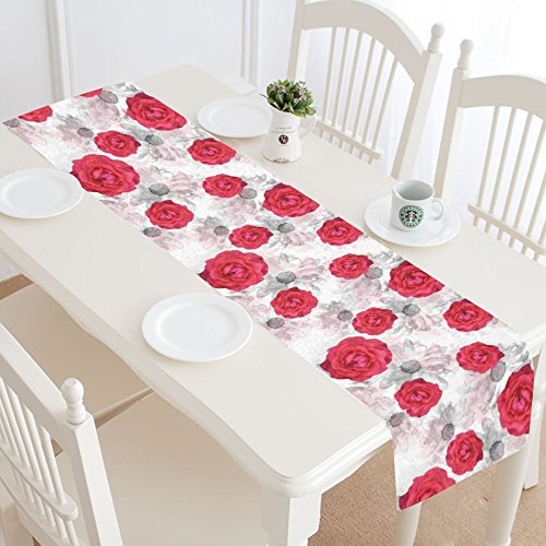 InterestPrint Antique Roses Flowers,Vintage Watercolor Floral Table Runner Cotton Linen Cloth Placemat for Office Kitchen Dining Wedding Party Banquet 16 x 72 Inches