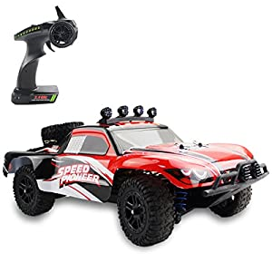Fistone RC Car RTR High Speed Racing Monster Truck 4WD Rock Crawler Off Road Dune Buggy Full Scale 2.4G Remote Control Hobby Toys for Kids & Adults with LED Lights (Red)