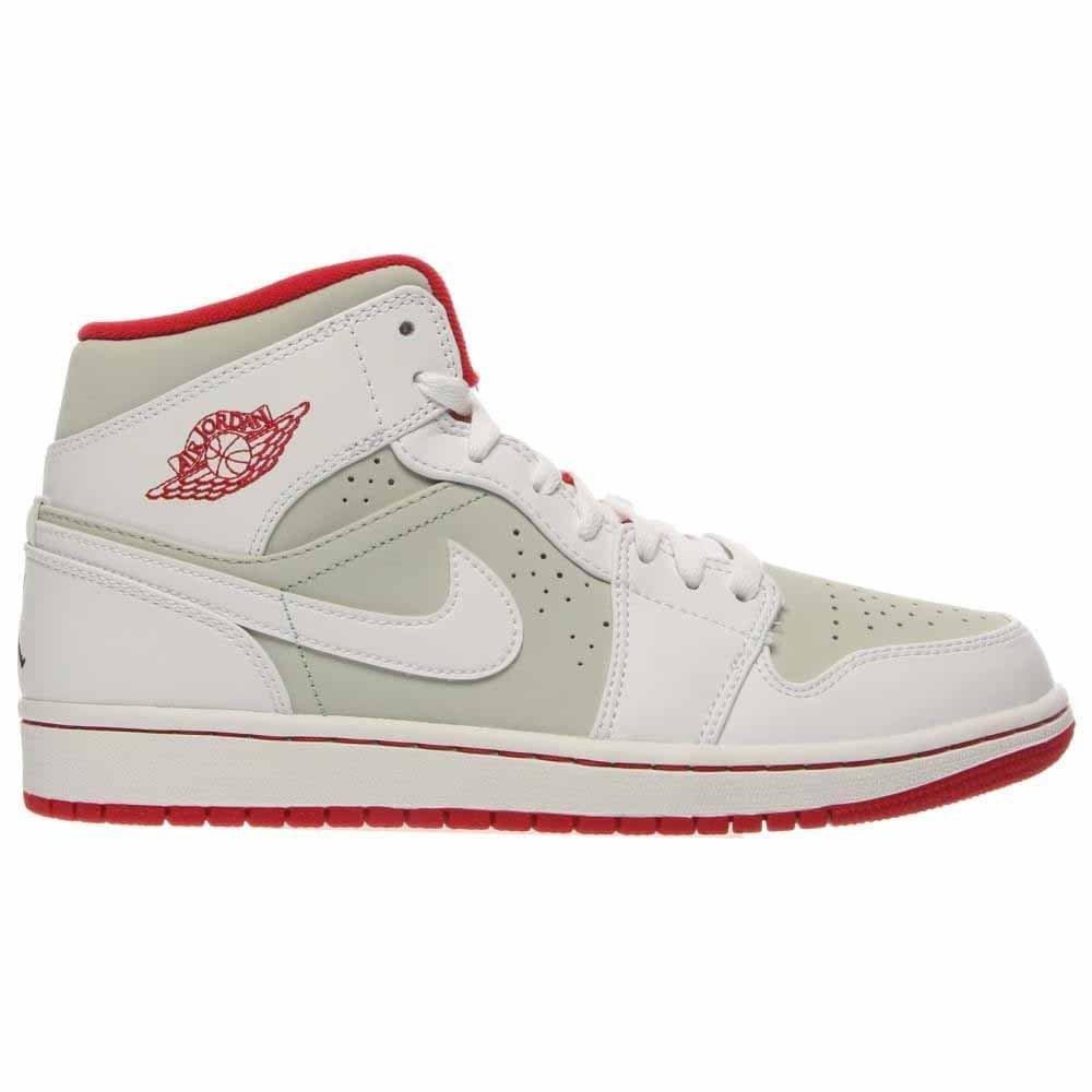 official photos e41da 6a72d Amazon.com   Nike Mens Air Jordan 1 MID WB White True Red-Silver Leather  Basketball   Fashion Sneakers