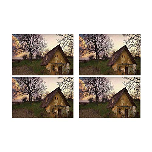 C COABALLA Rustic Home Decor Utility Placemat,Battered Stone House in Field Messy Shed Building Provincial Pastoral Concept for Home,Four Pieces 14