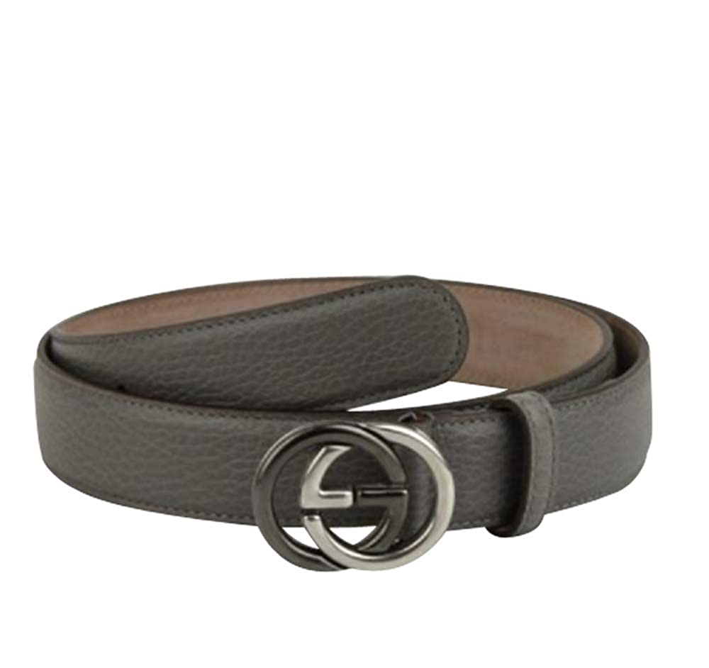 e15359955a5 Amazon.com  New Gucci Men s Grey Leather Belt with GG Buckle 295704 1226 ( 110 44)  Clothing
