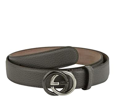 8fb3425b770 Amazon.com  New Gucci Men s Grey Leather Belt with GG Buckle 295704 ...