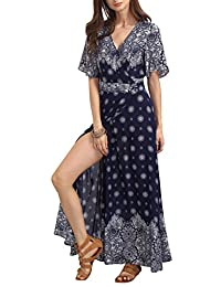 Berrygo Women's Boho Split Ruffled Floral Print Chiffon Wrap Floor Length Maxi Dress