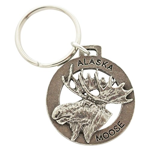 Creative Pewter Designs, Pewter Alaska Moose Key Chain, Antiqued Finish, A614KC