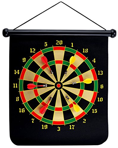 Read About Themoemoe 15 Magnetic Dartboard Sets With 6 Reversible Darts Rolling Two Sided Bullseye ...