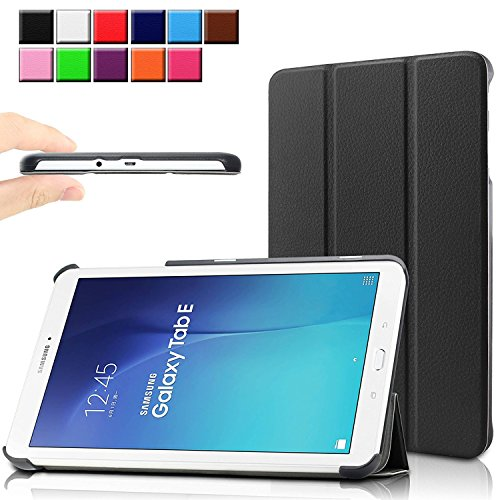 Samsung Galaxy Tab E 9.6 case - Infiland Ultra Slim Tri-Fold Case Cover for Samsung Tab E/Tab E Nook 9.6-Inch Tablet (SM-T560 / T561 / T565 / SM-T567V Verizon 4G LTE), Black