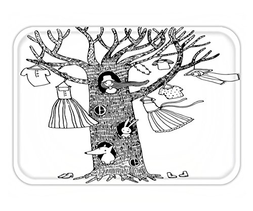 Minicoso Doormat Girly Decor Collection Magic Tree House Outfits on Branches A Little Girl in Hole Dresses Feminine Sketchy Print Black White