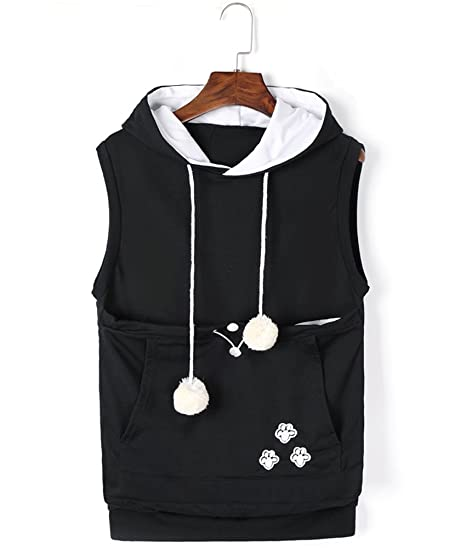d52357b1a19f5 Unisex Cat Ear Big Kangaroo Pocket Sleeveless Hoodie Pet Holder Vest  Sweatshirt at Amazon Women s Clothing store