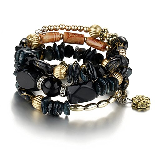 Boho Multilayer Natural Healing Gemstone Crystal Beads Charms Wrap Bracelet for Women (Black)