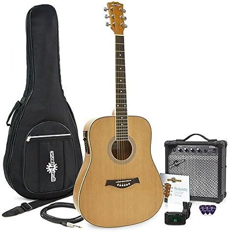 Guitarra Electroacústica Dreadnought + Pack Ampli 15W: Amazon.es: Instrumentos musicales