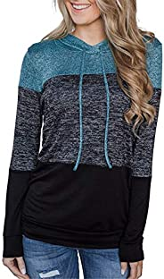 onlypuff Women's Long Sleeve Casual Drawstring Pullover Sweatshirts Hoo