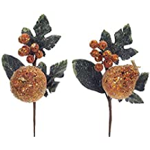 """Pack of 12 Decorative Copper Orange and Green Artificial Glittered Apple and Pear Craft Picks 12"""""""