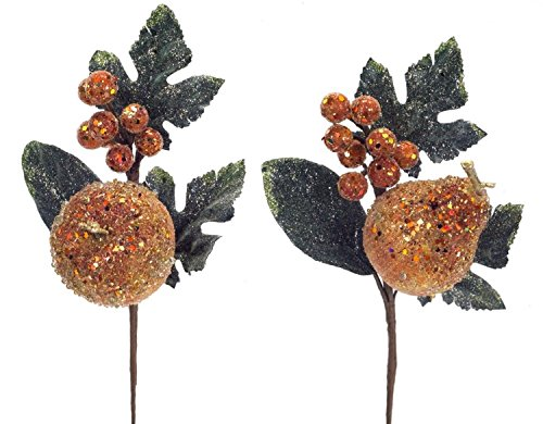 Pack of 12 Decorative Copper Orange and Green Artificial Glittered Apple and Pear Craft Picks 12'' by Melrose