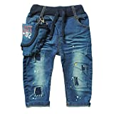 eTree Little Boys' Baby Denim Jeans Special Pockets Paint Pants 1-5 Years