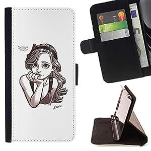 - smart sketch drawing pencil art girl - - Prima caja de la PU billetera de cuero con ranuras para tarjetas, efectivo desmontable correa para l Funny HouseFOR HTC One M8
