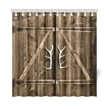 Rustic Shower Curtains InterestPrint Wooden Garage Barn Door Shower Curtain, Vintage Rustic Country Wooden Gate with Antler Handles Decor Fabric Bathroom Set with Hooks, 72 X 72 Inches Long, Brown