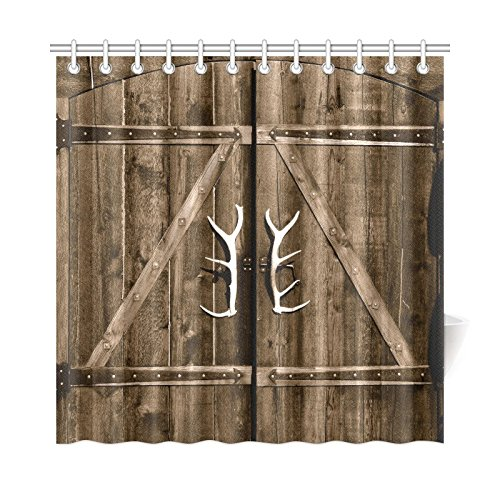 InterestPrint Wooden Garage Barn Door Shower Curtain, Vintage Rustic Country Wooden Gate with Antler Handles Decor Fabric Bathroom Set with Hooks, 72 X 72 Inches Long, Brown (Country Bathroom Decor Sets)