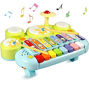 Ohuhu Xylophone Table Music Toys Multi-Function Toys Kids Drum Set, Discover & Play Piano Keyboard, Xylophone Set Electronic Learning Toys for Baby Infant Toddler Kids Christmas Birthday Gifts