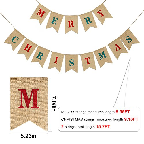 Konsait 2 IN 1 Merry Christmas Banner Burlap, Christmas Party Bunting Banner Garland for Fireplace Picture Outdoor Indoor Decorations,Xmas Home Photo Prop Party Decor Favors Supplies