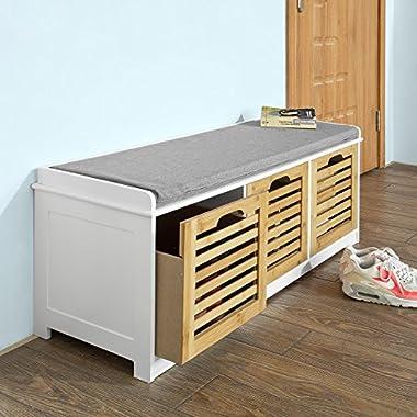 SoBuy Storage Bench with 3 Drawers & Seat Cushion, Shoe Cabinet Storage Unit Bench, FSR23-WN