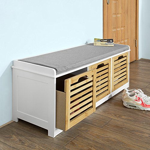 SoBuy Storage Bench with 3 Drawers & Seat Cushion, Shoe Cabinet Storage Unit Bench, FSR23-WN
