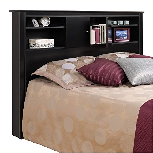 Pemberly Row Full Queen Wood Bookcase Headboard and Cabinet Storage in Black Finish
