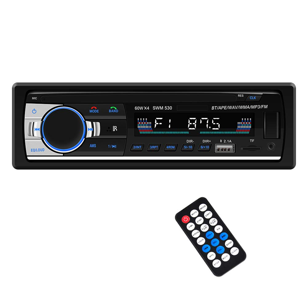 Car Stereo with Bluetooth Single din in Dash Car Radio FM/MP3 Car Audio Player Supprot USB/SD/AUX in/FLAC with Wireless Remote Control