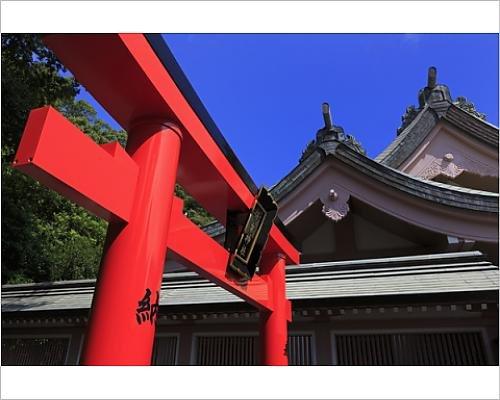 Japanese Tori Gate - 10x8 Print of Tori Gate, Terukuni Shrine, Kagoshima City, Kyushu Island, Japan, Asia (13180836)