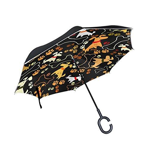 Wamika - Paraguas inverso de Apertura automática para Perros Vector e Impresiones, Parte Superior de plumón Resistente al Viento para Mujeres y Hombres: ...